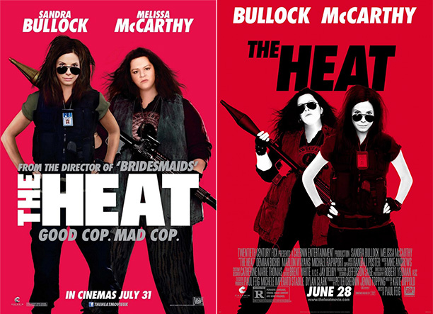 """Melissa McCarthy is almost unrecognizable in these American and UK posters for the movie """"The Heat""""."""